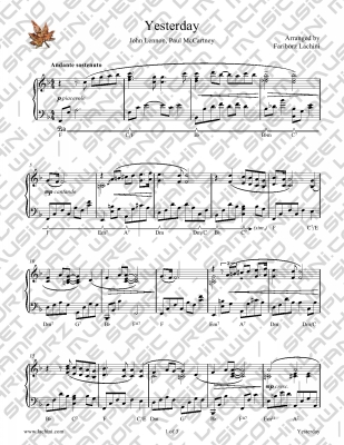 yesterday piano sheet music pdf