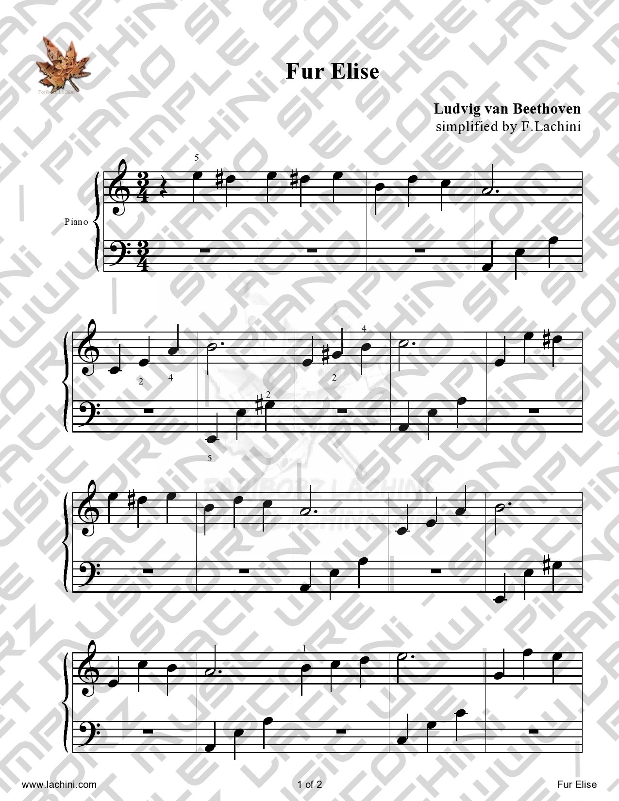 fur elise piano sheet music pdf