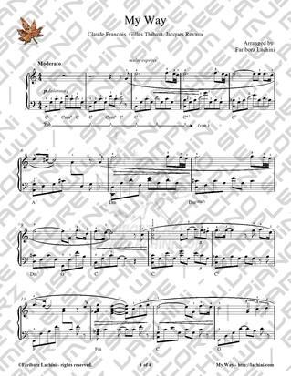 my way sheet music pdf